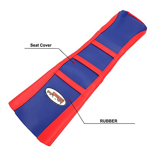 JFG RACING Red/Blue Gripper Rubber Soft Motorcycle Seat Cover For 50-125cc For Honda CRF50 XR50 Pit Dirt Bikes