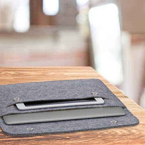 Relaxdays Laptop Hülle, 13 Zoll, Filz, Schutzhülle Laptop & Notebook, 4 Fächer, Laptoptasche, 27x35,5x2cm, dunkelgrau, 1 Stück