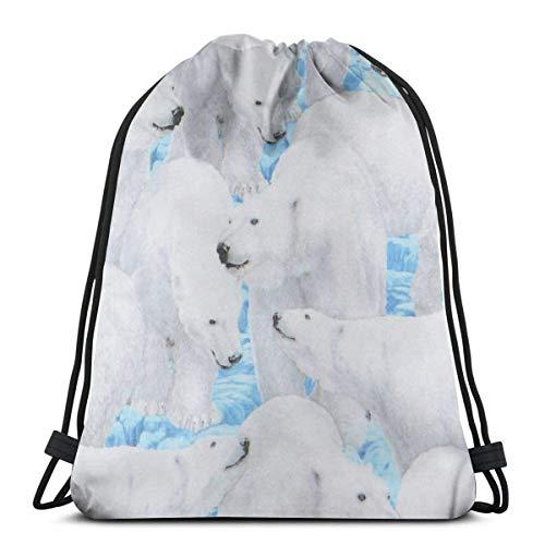 ARRISLIFE Sporttasche,Reisepaket Rucksack,Schulrucksack,Kordelzug Trainer Tasche,Schultertaschen,Polar Bear Kordelzug Trainer Tasche