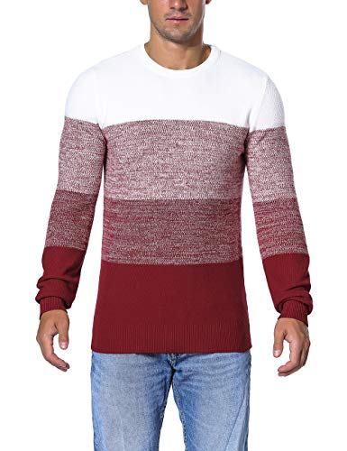 Rocorose Men's Crewneck Tunic Sweater Contrast Color Thick Knitted Pullover Red M
