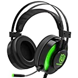 PS4 Gaming Headset, Taotique 7.1 Surround Sound Game Headset for Xbox One Noise Cancelling Over Ear Gaming Headphones with Mic, Ergonomic Soft Earmuffs and LED Light for Nintendo Switch, PC, Laptop
