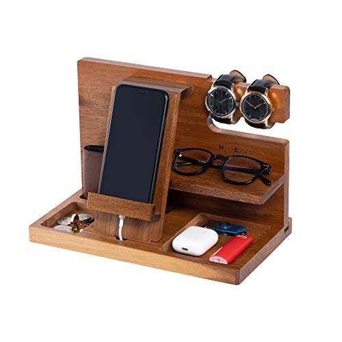 WUTCRFT - Wooden Phone Docking Station/Bedside Nightstand Organizer with Watch, Glasses, Wallet and Accessories Holder, Perfect as a Desk Organizer, Birthday Gift, or Gifts for Men