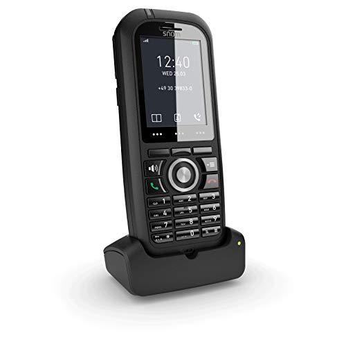 Snom M80 IP Office DECT Robustes Mobilteil EU / USA, VoIP, SIP, Bluetooth, IP65, HD, Alarmschlüssel, Vibration, Perfekt für den Außenbereich, Schwarz, 00004424