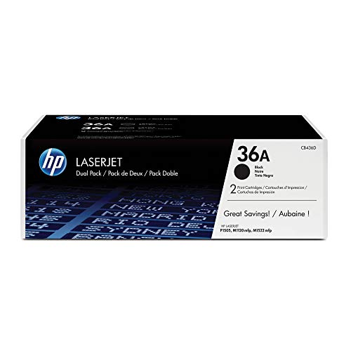 HP 36A 2er-Pack (CB436AD) Schwarz Original Toner für HP Laserjet M1120, HP Laserjet M1522