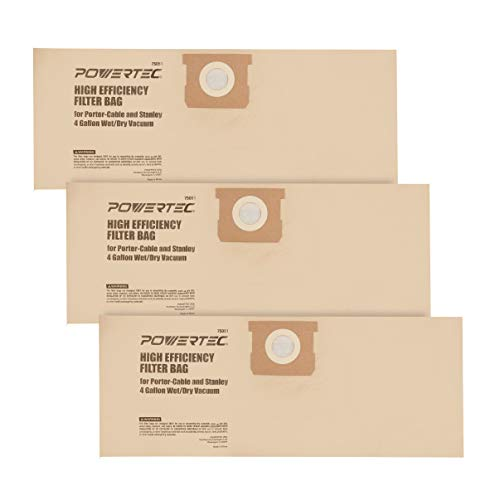 POWERTEC 75051 High Efficiency Filter Bag for Porter-Cable and Stanley 4 Gallon Wet/Dry Vacuum - 3 Pack