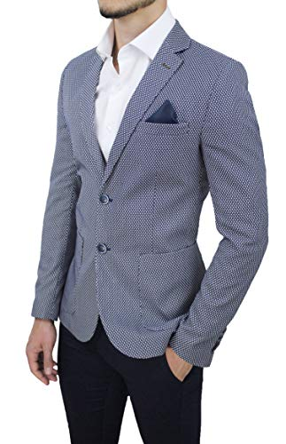 Evoga Giacca Blazer Uomo Sartoriale Blu Estiva Elegante 100% Made in Italy (XXXL, Blu)