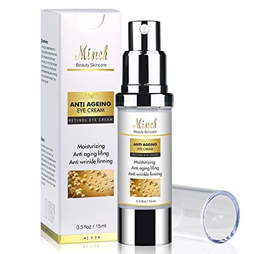 Retinol-Augencreme, Anti-Aging-Augencreme gegen Tränensäcke, reduziert Augenringe – mit Vitamin C, Niacinamid, Hyaluronsäure Anti-Falten-Augencreme gegen Falten, Krähenfüße, geschwollene Augen