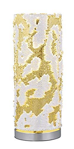 Reality Leuchten Tischleuchte Pail R50910179, Metall Chrom, Pailletten goldfarbig/weiß, exkl. 1x E14
