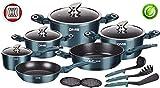 DMS 15-teilig Induktion Kochgeschirr Kochset Töpfe Pfannen Set Bratpfanne Kasserolle Suppentopf mit Glasdeckel 3 Küchenutensilien 2 Topfuntersetzer Aluminium Marbel Beschichtung (Blau)