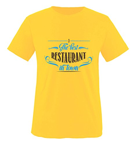 Comedy Shirts - The Best Restaurant in Town - Herren T-Shirt - Gelb/Blau-Braun Gr. S