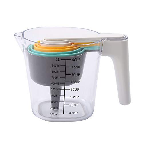 UTDKLPBXAQ 9 Pieces Measuring Cup Measuring Spoons Set With One Scraper One Funnel Plastic Cooking Baking Kitchen Utensil