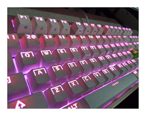 Teclas DIY Teclas Translucidus 104 Teclas Traslucidus ABS Doble Color Translucidus Teclas Retroiluminación Teclas para Interruptores Teclado mecánico ANSI (Color: Rosa) Accesorios (Color: Blanco)