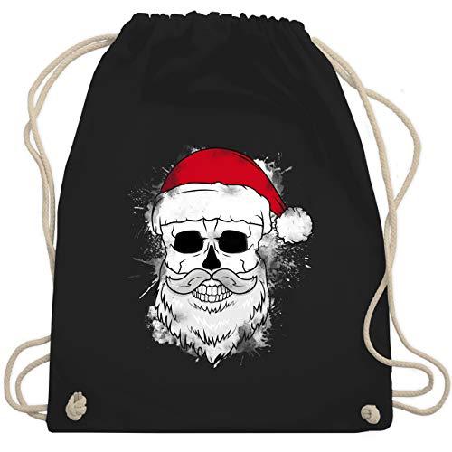 Weihnachten & Silvester - Totenkopf mit Weihnachtsmütze und Bart - Unisize - Schwarz - totenkopf weihnachten - WM110 - Turnbeutel und Stoffbeutel aus Baumwolle