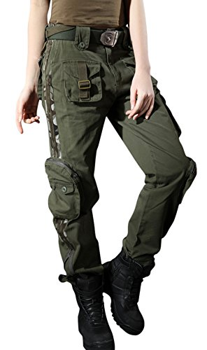 chouyatou Women's Casual Camouflage Multi Pockets Cargo Pants (X-Small, Army)