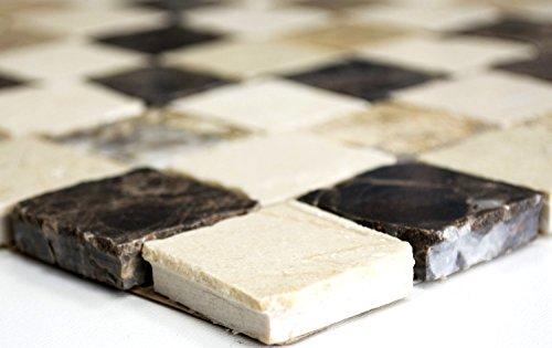 mosaico de red mosaico azulejos cuadrado mix Beige Carpet/Crema Marfil/Dark emperador gehont mármol piedra natural cocina pared azulejos Espejo pared Ver Blender