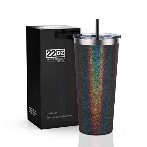 Bastwe Tumbler 22oz Stainless Steel Vacuum Insulated Tumbler with Lid and Straw, Travel Mug Double Wall Coffee Cup for Home, Office, Great for Ice Drinks and Hot Beverage (Black Glitter)