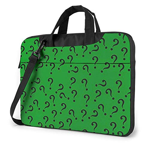Question Mark in Green Laptop Sleeve Case 15.6 Inch Computer Tote Bag Shoulder Messenger Briefcase for Business Travel