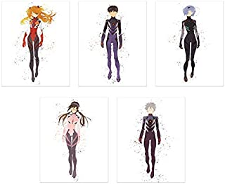 Watercolor Neon Genesis Evangelion Rebuild Poster Prints - Set of 5 (8x10) Minimalist EVA Pilot Anime Fanart Wall Art Decor - Asuka Langley - Kaworu Nagisa - Shinji Ikari - Rei Ayanami - Mari Makinami