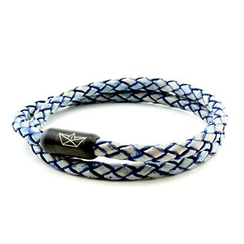 Paper-Ship Armband Neapel No. 105 - Doppelt-gewickelt, Blaues geflochtenes Lederarmband mit Magnetverschluss in Schwarz (19.00)