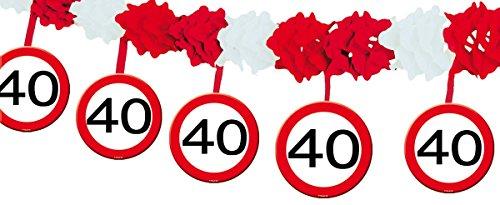 Girlande mit Zahl 40 Verkehrsschild, Länge 4m, Material Papier
