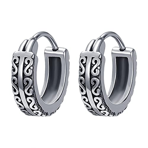 Pendientes redondos de Punk Rock, anillo de oreja de acero inoxidable a la moda, pendientes de acero quirúrgico con calavera para hombres y mujeres, Piercing de oreja pop
