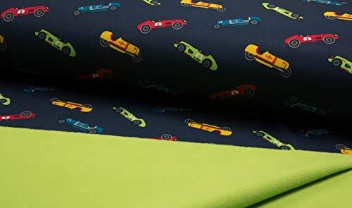Qualitativ hochwertiger Softshell Stoff mit Rennautos auf Marine als Meterware zum Nähen von Kinder- und Babybekleidung, 50 cm