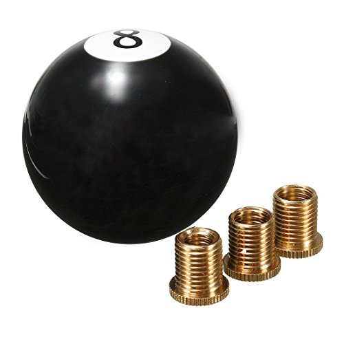 AllureEyes Acrylic Ball Balck 8 Ball Billiard Round Gear Shift Knob Shifter with 4 Adapters Manual Stick Shift Knob Universal for Most Vehicles