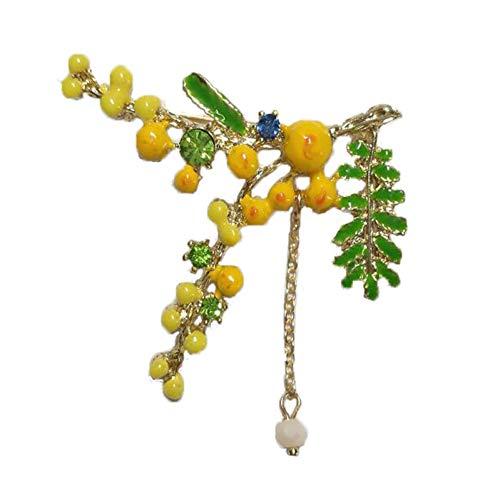 QPODGQ Brosche Gut Aussehende Und Tragbare Brosche Schmuck Legierung Tropfen Öl Brosche Mimose Corsage Schöne Accessoires