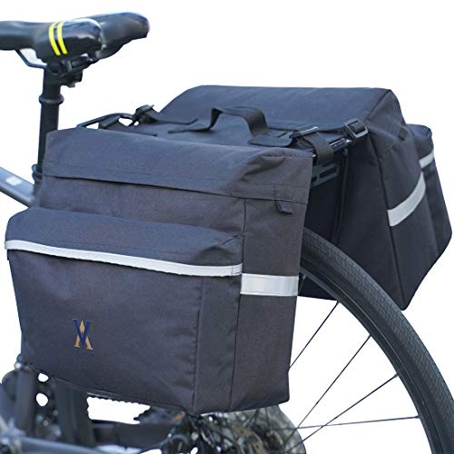 Vuudh Water-Resistant Portable Bike Pannier Bag - 26L Bicycle Panniers with Reflective Trim, Bike Rear Seat Saddle Bags (Black)