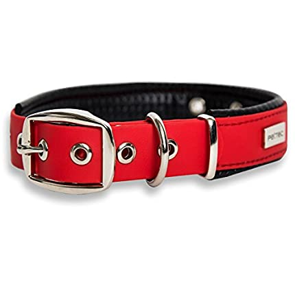 PetTec Collar de Perro Cómodo y Duradero, Fabricado con Trioflex lo Que lo Hace Fuerte; para Perros Grandes o Pequeños, Ajustable y con Relleno Impermeable (Rojo)