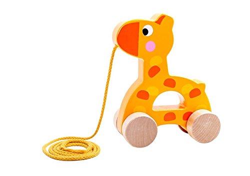 Tooky Toy Giraffe en bois à tirer - Jouet pour enfant - Jeu d'éveil - Jouet en bois - Jouet fille et garcon - Jouet à tirer - à partir de 3 ans - 12,6 x 5,3 x 14,8 cm