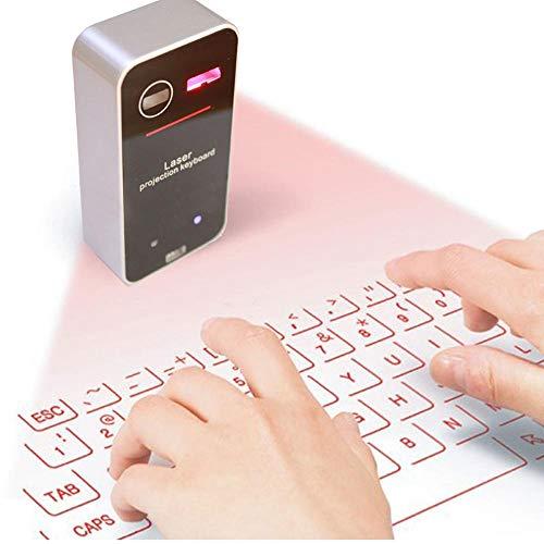 ILYO Wireless Mini Teclado Virtual, Teclado Virtual Bluetooth con Las Funciones del Ratón Y El Altavoz Compatible con Los Ordenadores/Teléfonos Móviles