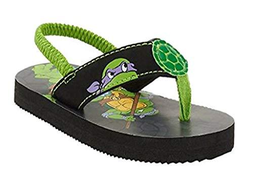 Tennage Mutant Ninja Turtles Toddler Boys' Beach Flip Flop (5-6, Green & Black)