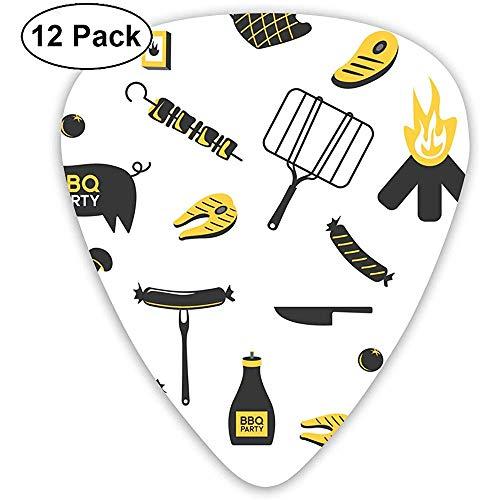 12 Pack BBQ Grill Vlees Barbecue Restaurant Feest thuis Gitaar Picks Complete Gift Set voor Gitarist