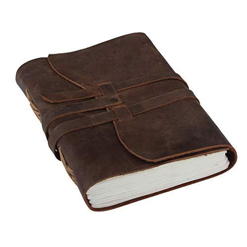 Cuaderno de cuero - 18 x 13 cm Bafflo cuero genuino A5 papel en blanco con diario de cuero de diseño vintage