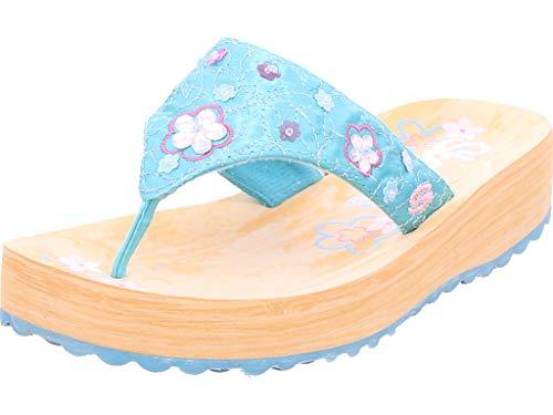 Skechers Mädchen Sparks Offene Sandalen mit Keilabsatz, Türkis (TURQ), 31 EU