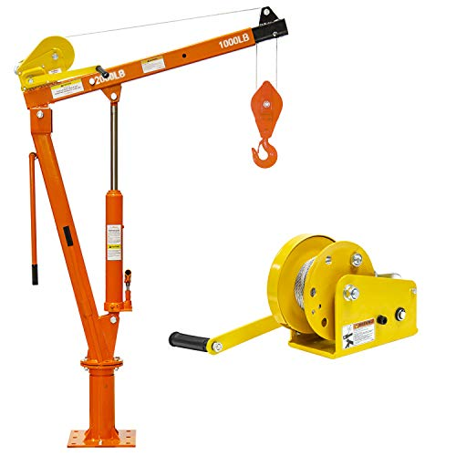 Prowinch Hydraulic Foldable Davit Crane with Winch - with 2000 Lbs Load Capacity - 360 Degree Swivel - Professional Grade Lifting Hand Winch with Automatic Brake - Durable and Versatile