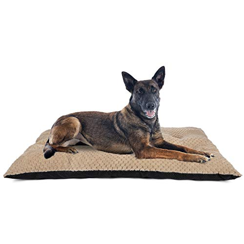 """GASUR Large Dog Bed Crate Pad Mat Ultra Soft 24""""/30""""/36""""/42"""" Washable Large Medium Small Pet Beds Cat Beds Mattress Kennel Pads (XL, Beige Brown)"""