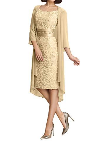 La_Marie Braut Damen Modern Spitze Brautmutterkleider Abendkleider Partykleider Etuikleider Knielang-46 Champagner