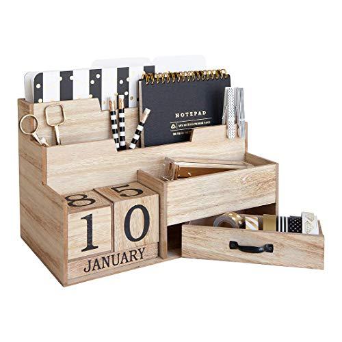 Wooden Mail Organizer Desktop with Block Calendar