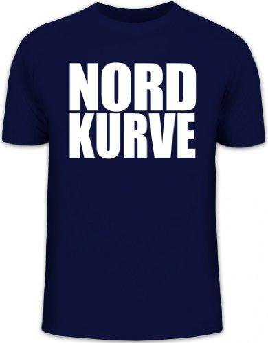 Shirtstreet24, NORDKURVE, Ultras Hamburg Schalke Fußball, Herren T-Shirt Fun Shirt Funshirt, Größe: L,dunkelblau