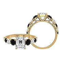 3カラットモアッサナイトと人工ブラックダイヤモンド婚約指輪(AAA品質), 14K イエローゴールド, Size: 25