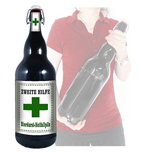 Zweite Hilfe Bierdurst-Notfallpils - 3 Liter XXL-Flasche Bier mit Bügelverschluss