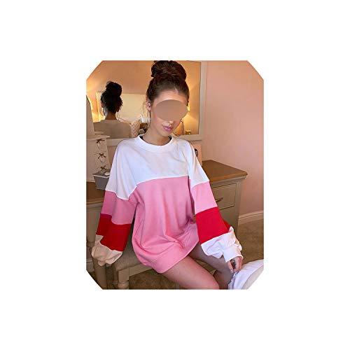 Sudadera con capucha de color rosa, de gran tamaño, estilo casual, para mujer, talla S