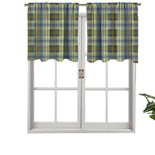 Hiiiman Cortina opaca corta con dobladillo para barra, diseño de cuadros geométricos ingleses con textura folclórica, juego de 2, cortinas de cocina de 42 x 36 pulgadas para sala de estar