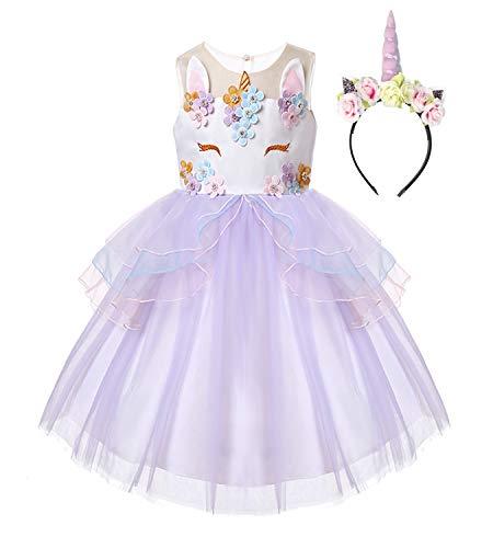 R-Cloud Girls Flower Unicorn Costume Pageant Princess Dress Up Cosplay Birthday Party Dress (Purple, 120(5-6Y))
