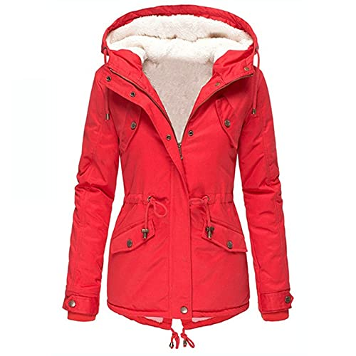 Women's Solid Color Rain Jackets Zip Up Hoodies Slim Fit Long Cardigans Slim Fit Thickened Winter Coats for Women Red