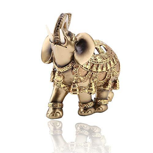 Elefantenfiguren, Goldene Glück Feng Shui Statue Skulptur Geschnitzte Figur Reichtum Figur Kunsthandwerk Schreibtisch Dekoration(Groß)