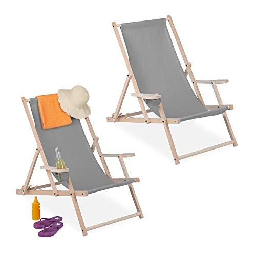 Relaxdays Liegestuhl Tumbona Plegable, Juego de 2, Madera y