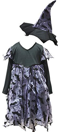 Petitebelle Disfraz de bruja de murcilagos negros 3-10 aos (estndar, 8-10 aos)